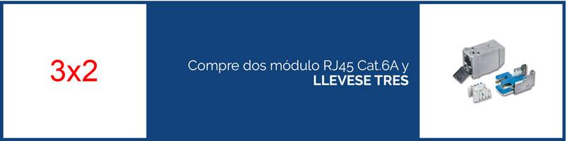 Compre dos módulos RJ45 Cat.6A y LLEVESE TRES
