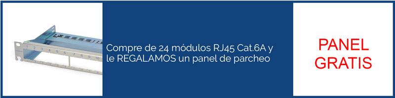 Compre 24 módulos RJ45 Cat.6A y le REGALAMOS un panel de parcheo